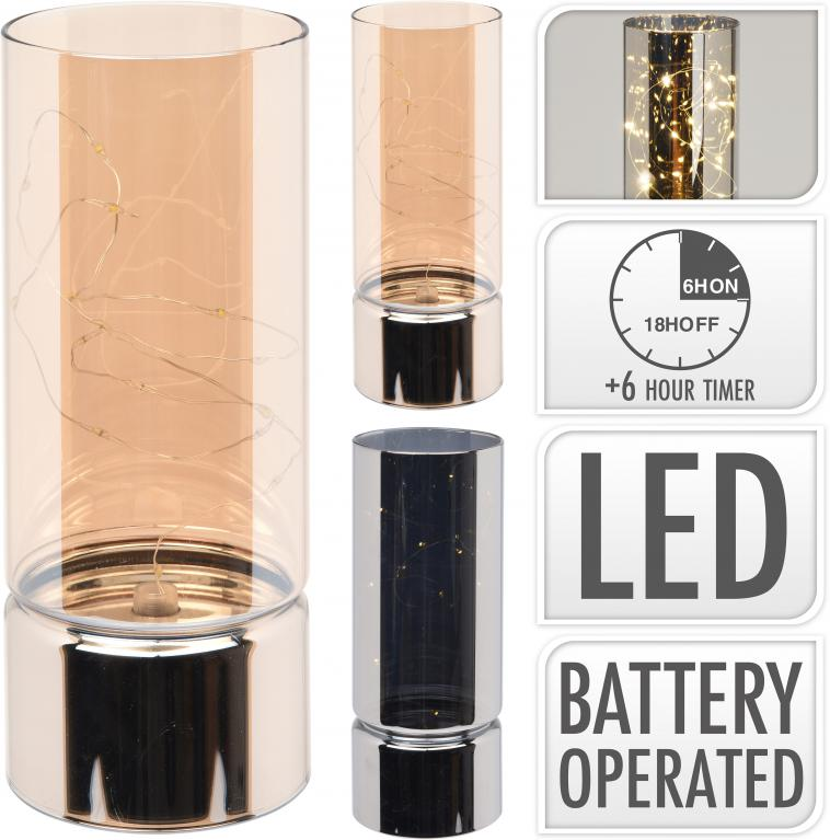 GLASS CYLINDER WITH 15 WW LEDS, GLASS, PP, SIZE: 8X8X20CM, WEIGHT: 250 GRAM, DOUBLE-DECK CYLINDER SHAPE WITH OPEN TOP, MIRROR SURFACE, B/O 3X AAA, NOT INCLUDED, WITH ON/OFF/TIMER SWITCH, 6/18H TIMER, 2 ASSORTED COLOURS: AMBER LUSTER AND SMOKE LUSTER, 12PCS IN DISPLAY BOX, ASS.:2 COLOURS(1..2)/ 80X80X200MM, BARCODE STICKER - photo 53
