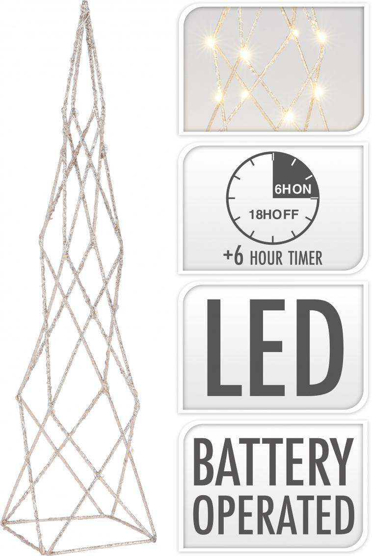WIRE CONE 40CM, 25 WARM WHITE LED LIGHTCHAIN WITH 10CM BULB DISTANCE. COLOUR CHAMPAGNE GOLD GLITTERING. 50CM EXTENSION WIRE, 2AA TRANSPARANT BATTERY BOX (BATTERIES NOT INCLUDED), WITH 6 HOUR TIMER FUNCTION. EACH PIECE PACKED IN PP BAG, WITH COLOUR HANGTAG/ 85X85X400MM, OPP BAG WITH HANGTAG - photo 53