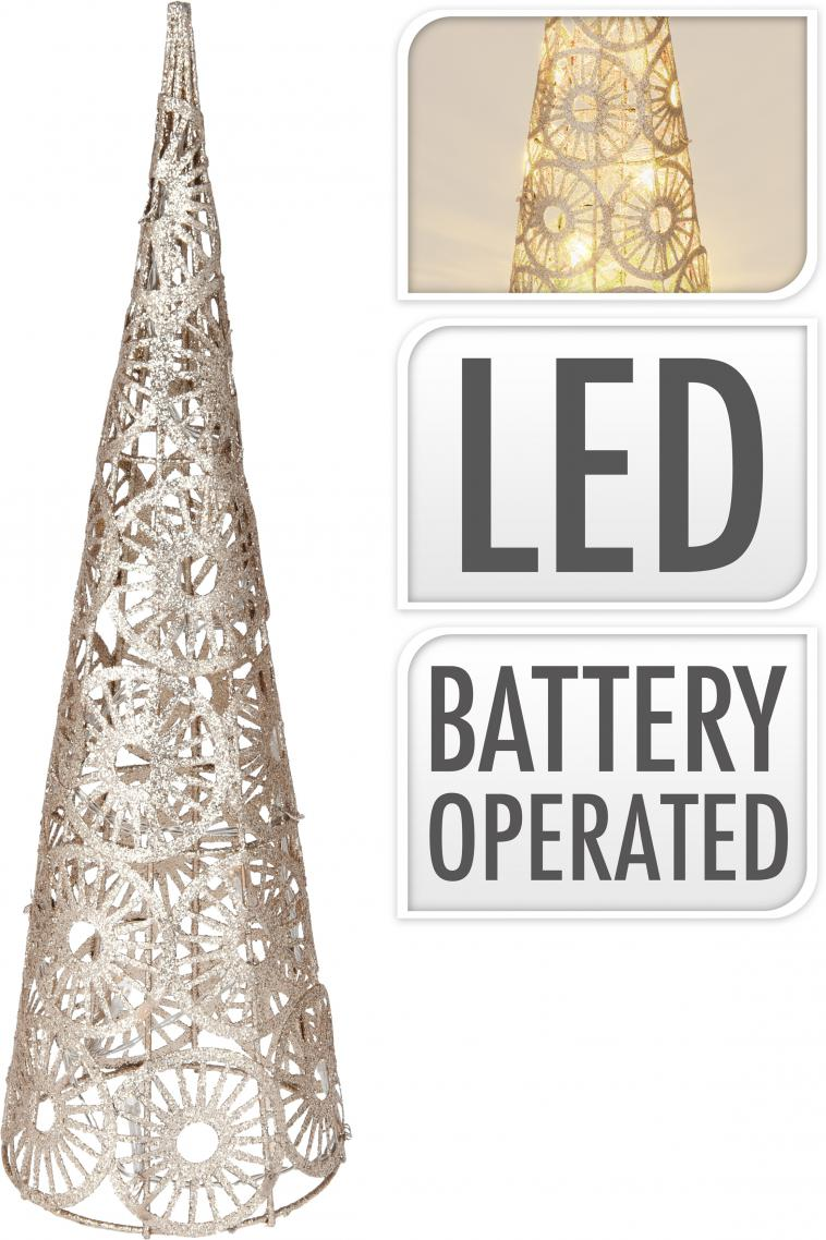 WIRE CONE 40CM, 25 WARM WHITE LED LIGHTCHAIN WITH 10CM BULB DISTANCE. COLOUR CHAMPAGNE GOLD GLITTERING. 50CM EXTENSION WIRE, 2AA TRANSPARANT BATTERY BOX (BATTERIES NOT INCLUDED), WITH 6 HOUR TIMER FUNCTION. EACH PIECE PACKED IN PP BAG, WITH COLOUR HANGTAG/ 85X85X400MM, OPP BAG WITH HANGTAG - photo 58