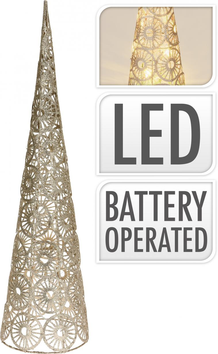 WIRE CONE 60CM, 15 WARM WHITE LED LIGHTCHAIN WITH 10CM BULB DISTANCE. COLOUR CHAMPAGNE GOLD GLITTERING. 50CM EXTENSION WIRE, 2AA TRANSPARANT BATTERY BOX (BATTERIES NOT INCLUDED). EACH PIECE PACKED IN OPP BAG, WITH COLOUR HANGTAG/ 160X160X600MM, OPP BAG WITH HANGTAG - photo 53