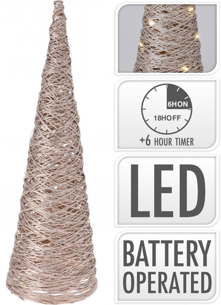 WIRE CONE 40CM, 25 WARM WHITE LED LIGHTCHAIN WITH 10CM BULB DISTANCE. COLOUR CHAMPAGNE GOLD GLITTERING. 50CM EXTENSION WIRE, 2AA TRANSPARANT BATTERY BOX (BATTERIES NOT INCLUDED), WITH 6 HOUR TIMER FUNCTION. EACH PIECE PACKED IN PP BAG, WITH COLOUR HANGTAG/ 85X85X400MM, OPP BAG WITH HANGTAG - photo 59