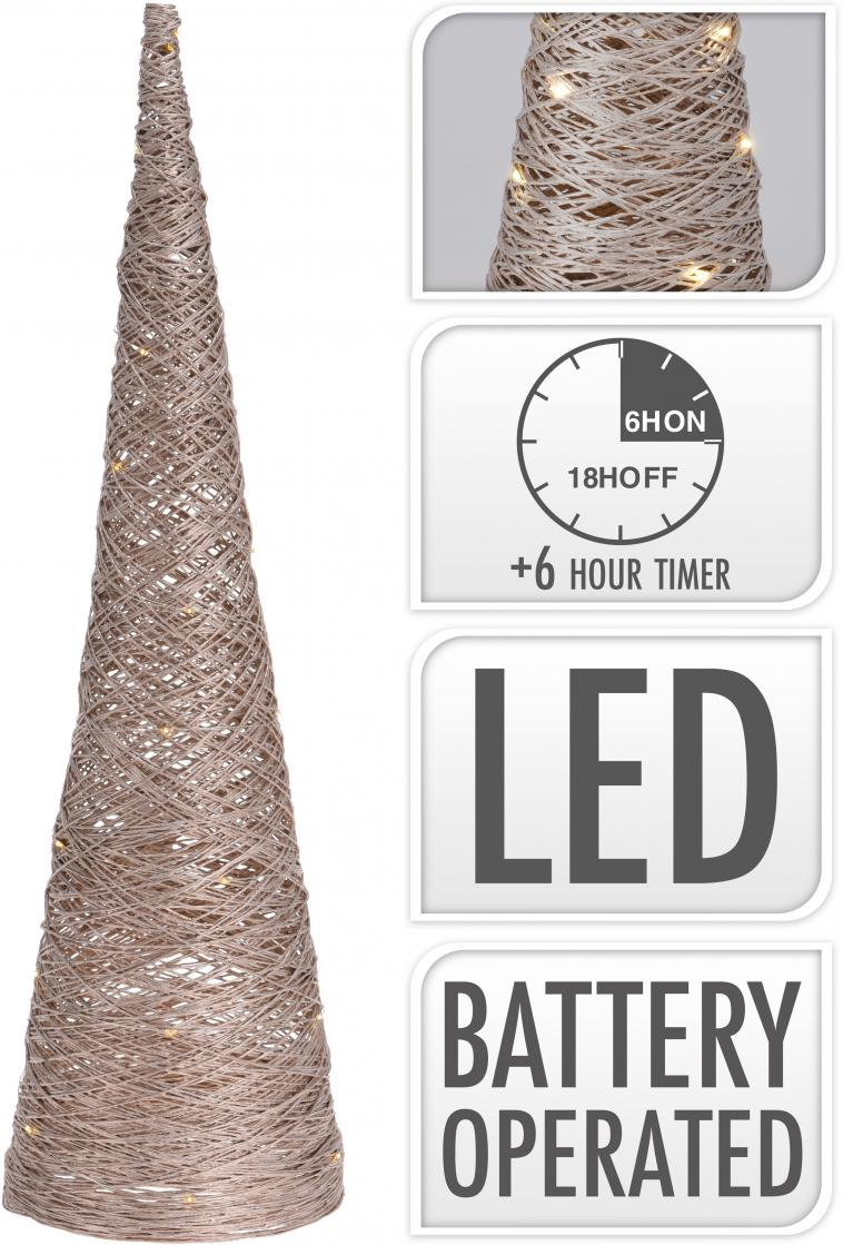 WIRE CONE 60CM, 15 WARM WHITE LED LIGHTCHAIN WITH 10CM BULB DISTANCE. COLOUR CHAMPAGNE GOLD GLITTERING. 50CM EXTENSION WIRE, 2AA TRANSPARANT BATTERY BOX (BATTERIES NOT INCLUDED). EACH PIECE PACKED IN OPP BAG, WITH COLOUR HANGTAG/ 160X160X600MM, OPP BAG WITH HANGTAG - photo 56