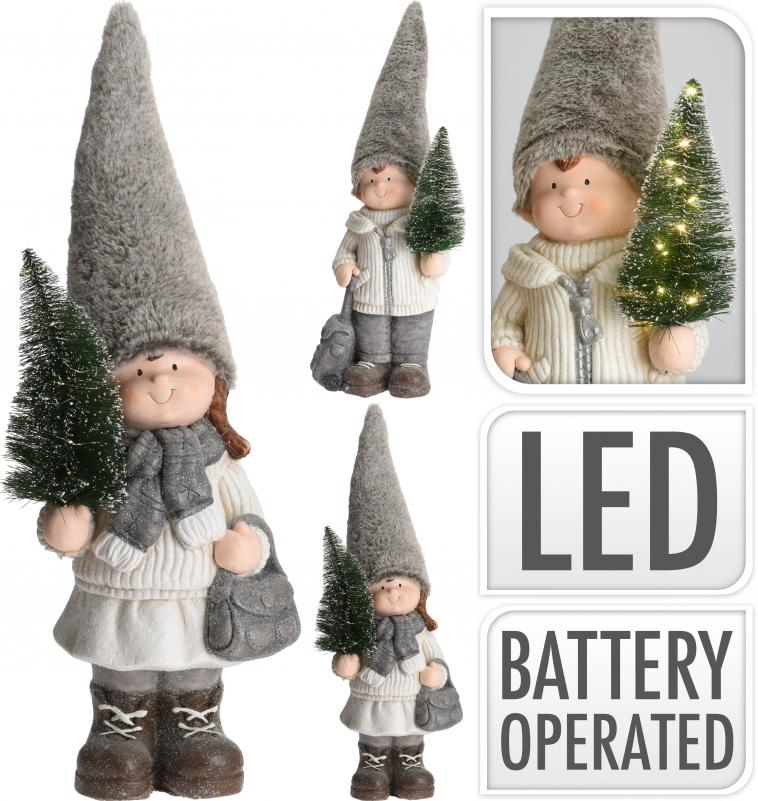 BOY OR GIRL STANDING, HOLDING XMAS TREE IN HAND, MGO, PP, SIZE: 24X18X70CM, WEIGHT: 2800 GRAM, WEARING FUR HAT, HOLDING BAG, CLOTH COVERED WITH GLITTER, WITH 9PCS WW LED BULBS ON THE TREE. B/O, 2X AAA BATTERIES NOT INCLUDED. 2 ASSORTED DESIGNS, ASS.:2 DESIGNS(BOY/GIRL)/ 240X180X700MM, HANGTAG - photo 53